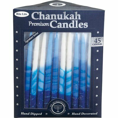 Rite-Lite Premium Chanukah Candles. Handcrafted, Blue/White Stripe. Box of 45