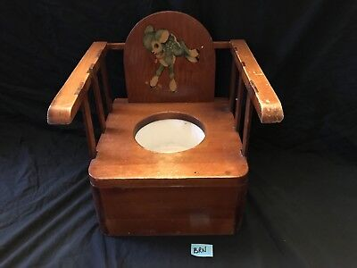 VTG ANTIQUE WOODEN CHILD POTTY CHAIR with ENAMEL POT, LAMB DECAL, CUTE!