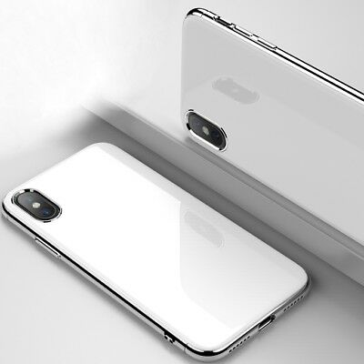 For iPhone X 10 7 8 CHROME Hybrid 360 New Shockproof Case Tempered GLASS Cover