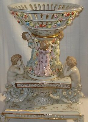 Meissen Style Hand-Painted Porcelain Centrepiece