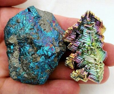 GEMCORE: Peacock Ore And Bismuth Combo! Crystal Healing Chalcopyrite Bornite