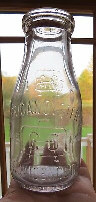 American Oyster Co. Providence Rhode Island Pint Milk Bottle Shape