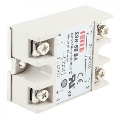 50A SSR-50DA Solid State Relay Input Voltage 3-32VDC Output 24-380VAC White