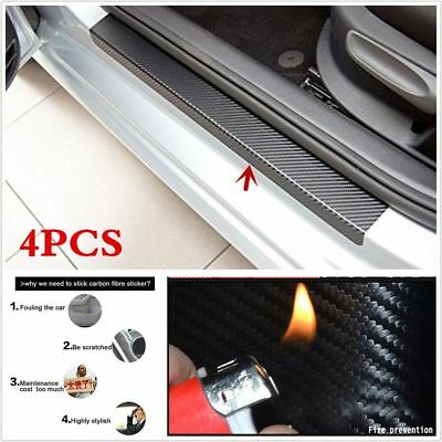 Hot 4Pcs Black Carbon Fiber Car Door Plate Sill Scuff Cover Anti Scratch Sticker