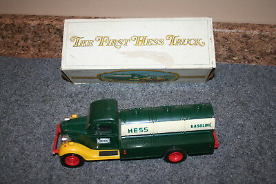 Vintage 1985 First Hess Truck Toy Bank with Box, Lights Work!