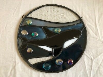 Stained Glass Window Art Hanging Orca Killer Whale Ocean Life