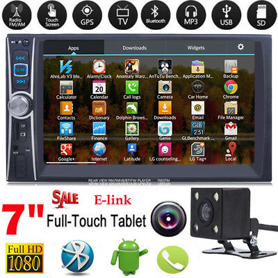 """7"""" HD Car Radio Stereo MP5 Player Bluetooth Touch Screen Double 2DIN+Rear Camera"""