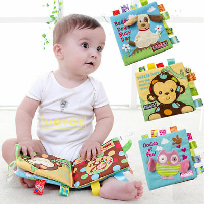 1pc Soft Cloth Book Baby Toy Early Learning Education Animals Book Infant Toys