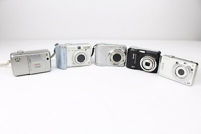 Lot Of 5 Digital Cameras Working For Parts Not Working Sony Canon Olympus Kodak
