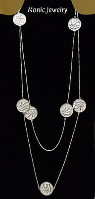 Seven Evil Eyes Protection Horus GoodLuck Amulet Sterling Silver Necklace 48Inch