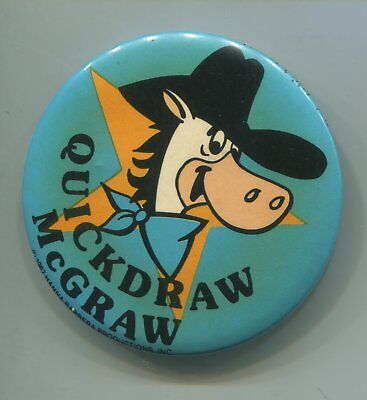 "Vtg 1982 Hanna Barbera Quick Draw McGraw 2"" Pin Pinback Star"