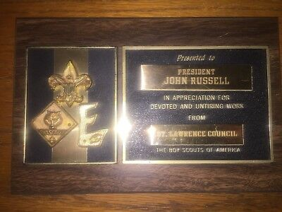 Vintage Boy Scouts of America BSA Plaque St. Lawrence Council John Russell Pres