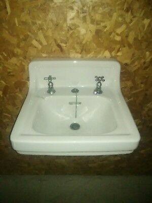 Antique White Porcelain Ceramic Bathroom Sink Vtg Standard Pottery 24x20x8 bowl