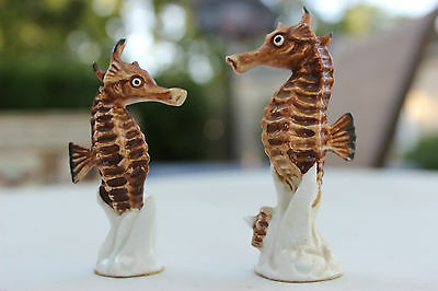 Vintage SEA HORSE Figurines Porcelain Bone China Set of 2 Hand Painted seahorse