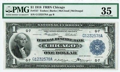 """$1 1918 """"Large Size"""" Chicago Nat. Currency Note PMG 35 """"Choice Very Fine"""""""