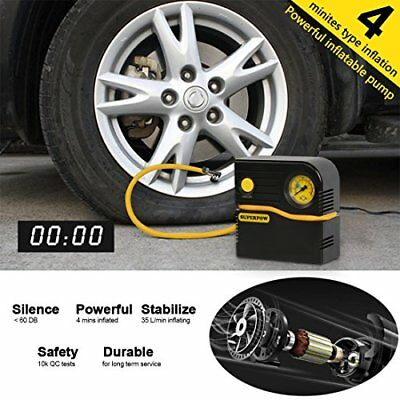 Portable Tire Inflator,Superpow Auto Air Compressor Pump 120PSI 12V DC 4 Mins...