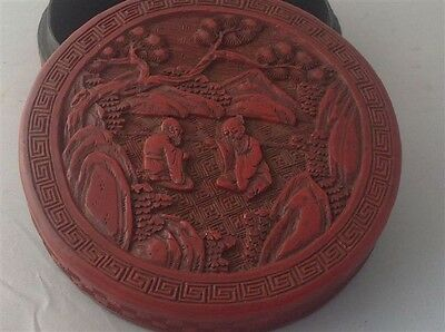 Antique Chinese export Lacquer round red box hand carved (m306)