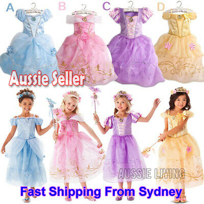 Kids Girls Princess Costume Fairytale Dress Up Rapunzel Cinderella Aurora Belle