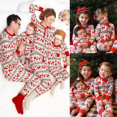 Christmas Family Matching Pajamas Set Women Kids Baby Deer Sleepwear Pyjamas
