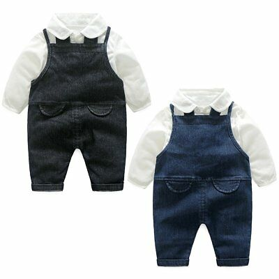 Baby Boy Dress Shirt & Dungaree Suspenders Outfits Clothes Formal Wedding Party