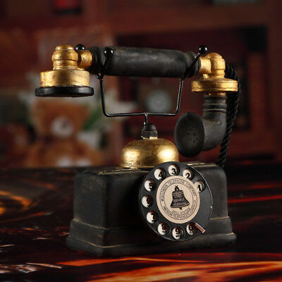 Vintage Rotary Telephone Statue Antique Shabby Old Phone Figurine Desk Decor New