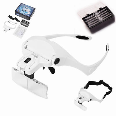 Headband Magnifier Magnifying Glass Loupe Hands Head Lamp With 2 LED Lights