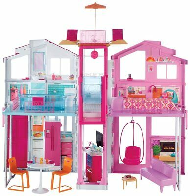 Girls Barbie 3 Storey Town House Play Set With Furniture