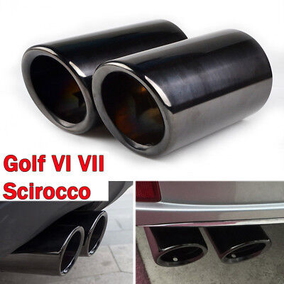 68mm Stainless Steel Exhaust Tail Muffler Tip Pipe Black VW Scirocco Golf VI VII