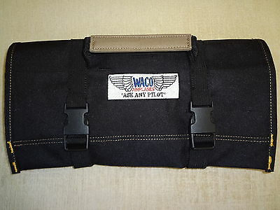 "WACO Bi Plane Logo ""NEW ALL BLACK"" !!!! TOOL ROLL for Your Classic WACO"