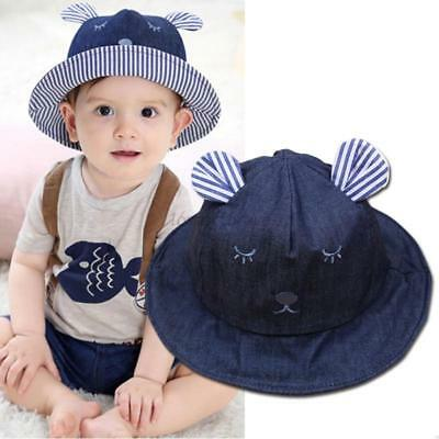 Newborn Baby Girls Boys Bear Summer Bucket Beach Outdoor Sun Hat Toddler Cap