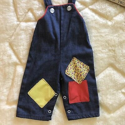 70s Vintage Denim Overalls With Patches Baby Size 9 Months