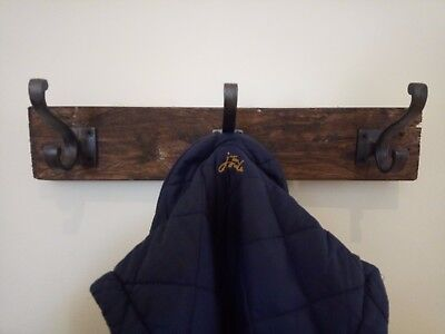 Reclaimed Recycled Wood Vintage Cast Iron Rustic Hat & Coat Hooks
