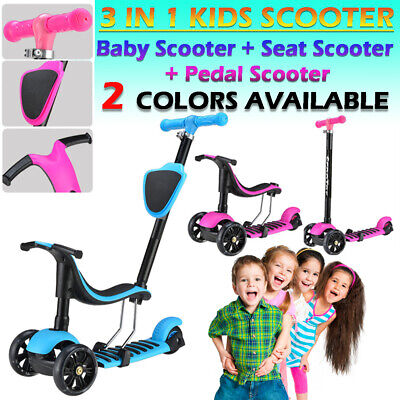 3 in 1 Multifunctions Baby Kids Kick Scooter Push with Seat 3 Wheel Scooter Ride