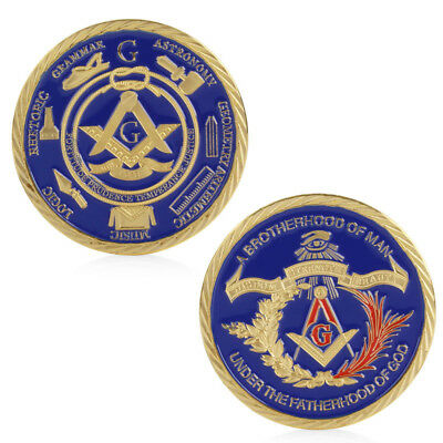 Gold Plated Masonic Brotherhood of Man Commemorative Challenge Coin Collection