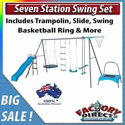 NEW! 7 Station Outdoor Swing Set  Kids Children Playground Swing Set Blue!