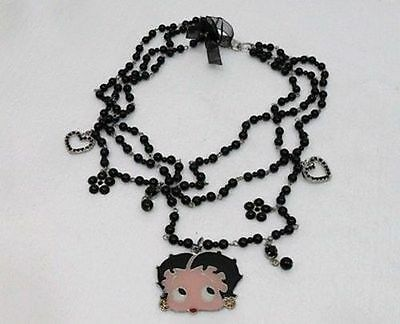 Betty Boop- Collana  Cm 35 C/tre File Di Perle Nere-Pendente Cm 5X4