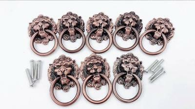 New 8-pieces Dresser Drawer Cabinet Door Ring Lion Head Pull Metal Handle Knob