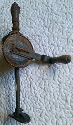 Vintage Stanley USA Model 744 Hand Crank Shoulder Knee Gear Drill Wood Carpentry