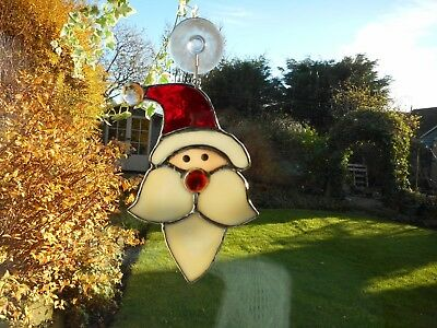 Stained Glass Christmas Santa Claus Suncatcher or Wall Mount