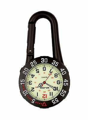 Black Carabiner Clip-on Belt Fob Watch. Rotating Bezel. Sports, Hikers, Doctors