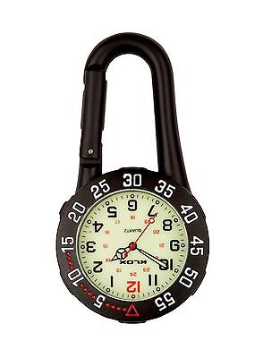Black Carabiner Clip-on Belt Fob Watch with Rotating Bezel. Sports, Doctors,