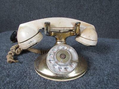 Antique D1 Bell System Western Electric Rotary Dial Table Telephone, Brass Plate