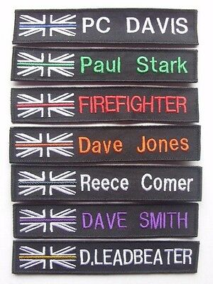 Thin Blue Line Union Jack Name Tape  Badge  Police Fire Rescue Hmp  Uk Nhs