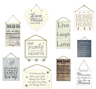 Hanging Wooden Plaques Shabby Chic Kitchen Family Friendship Rules Door Signs