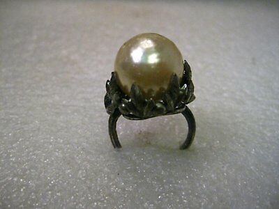 Vintage 15mm Faux Baroque Pearl in Gothic to Victorian Rustic Floral Pewter-like