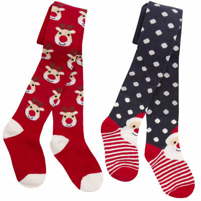 Girls Childrens Festive Christmas Tights Cotton Rich Santa and Reindeer 2-8 Yrs