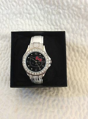 Nwt Hello Kitty Watch Black Face Embossed White Band Silver  W/ Rhinestones