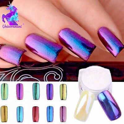 CHAMELEON MIRROR Nail Art POWDER White Pearl Chrome Nails Ceramic Shimmer Effect
