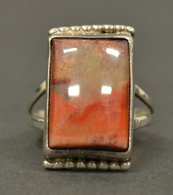 Vintage Native American Old Pawn Sterling Silver Rectangle Jasper Size 8.5 Ring