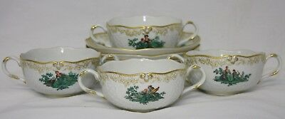 Set of 4 Meissen Green Watteau Courting Scene Bouillon Soup Bowls and Saucers